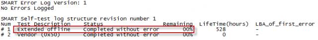 Test overil bezchybný stav disku