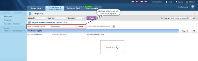 Úvodné načítavanie s možnosťou uložiť nastaavenie parametrov pre vytváranie reportu