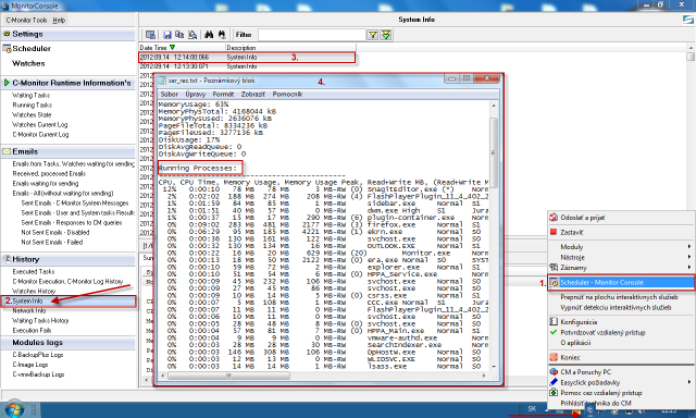 Systémové informácie z C-Monitor Console