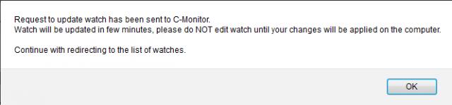 Obrázok: Informácia po odoslaní watchu do C-Monitora