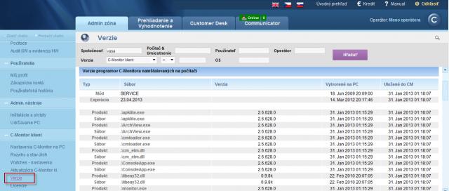 Zobrazenie verzií modulov C-Monitor klienta