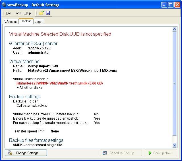 Chybová hláška pri nastavovaní zálohovania cez modul C-vmwBackup pri priamom nakopírovaní ESX(i) súborov do ESX hostu