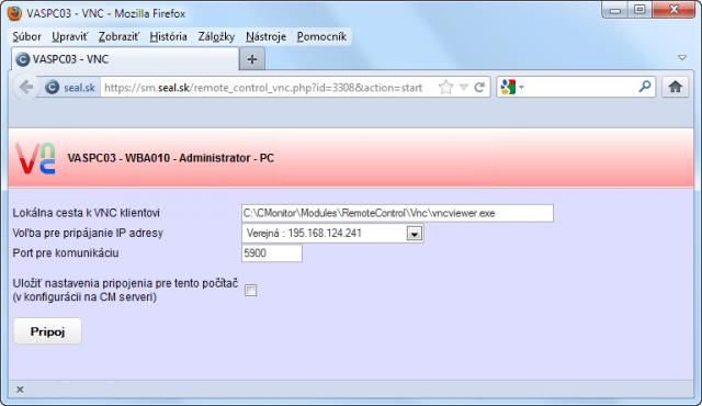 Pripojenie na počítač cez VNC