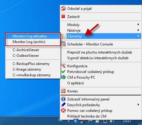 Zobrazenie záznamov cez C-Monitor klienta