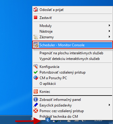 Vstup do Scheduler - Monitor Console