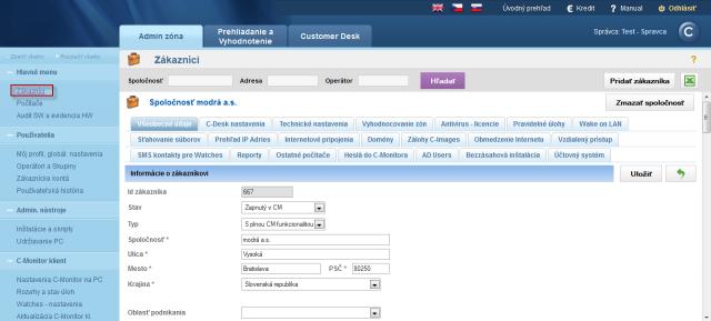 Zobrazenie detailu zákazníka s rôznymi možnosťami nastavenia