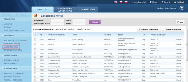 Zobrazenie zoznamu zákazníckych kont