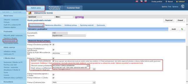 Nastavenie zákazníckeho konta ako riešiteľa C-Desk požiadaviek